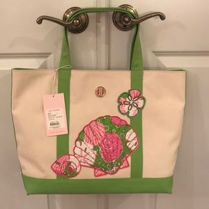 Lilly Pulitzer beaded sea shell canvas tote